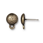 TierraCast Hammertone Round Earring Posts, Brass Ox Plate (Pair)